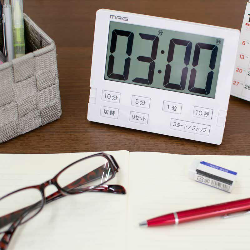 学習タイマー[TM-605 WH_MAGタイマー ベンガ君BIG]受験・テスト対策に消音機能付き