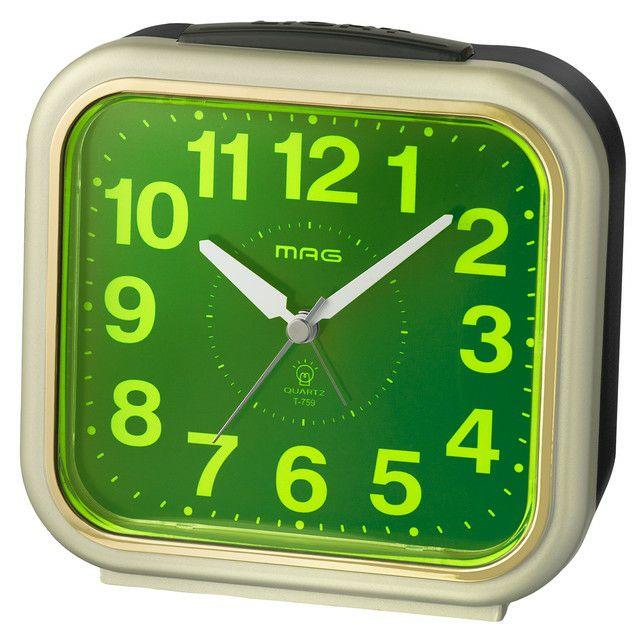 ≪メーカー直販≫ MAG(マグ) 置時計 目覚まし時計 電子音 連続秒針 コレクトライト T-759 シャンペンゴールド 1台