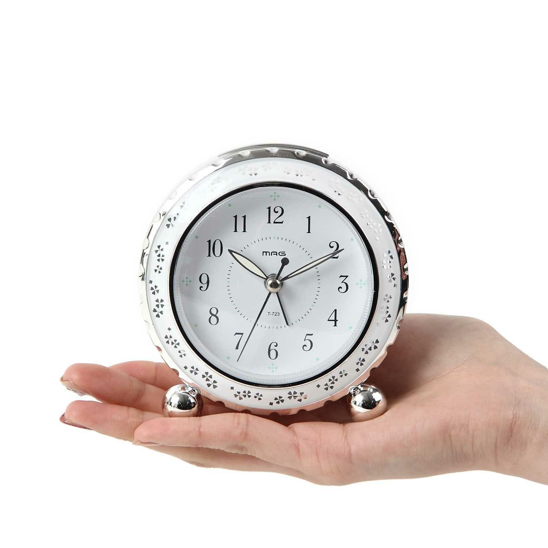 ≪メーカー直販≫ MAG(マグ) 置時計 目覚まし時計 アルブラン T-723 ホワイト フラワー 花 連続秒針 インテリア おしゃれ かわいい 女性 キッズ 女の子 小学生 中学生 1台