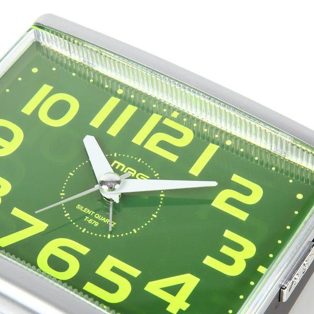 ≪メーカー直販≫ MAG(マグ) 置時計 目覚まし時計 電子音 連続秒針 グッドモーニング2号 T-679  銀シルバー 1台