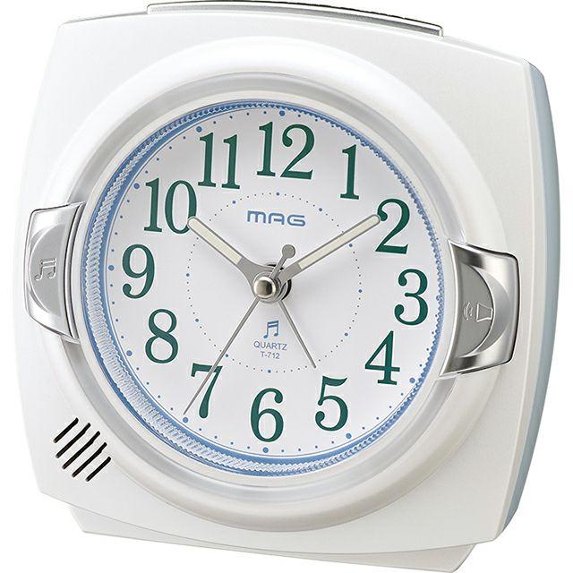 ≪メーカー直販≫ MAG(マグ) 置時計 目覚まし時計 メロディ8曲 6段階音量切替 連続秒針 T-712 カペルマ ホワイト 1台