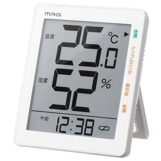 ≪メーカー直販≫ MAG(マグ) TH-105 デジタル 温 湿度計 熱中症 インフルエンザ 環境 目安表示 時計付き 置掛兼用 ホワイト 1台