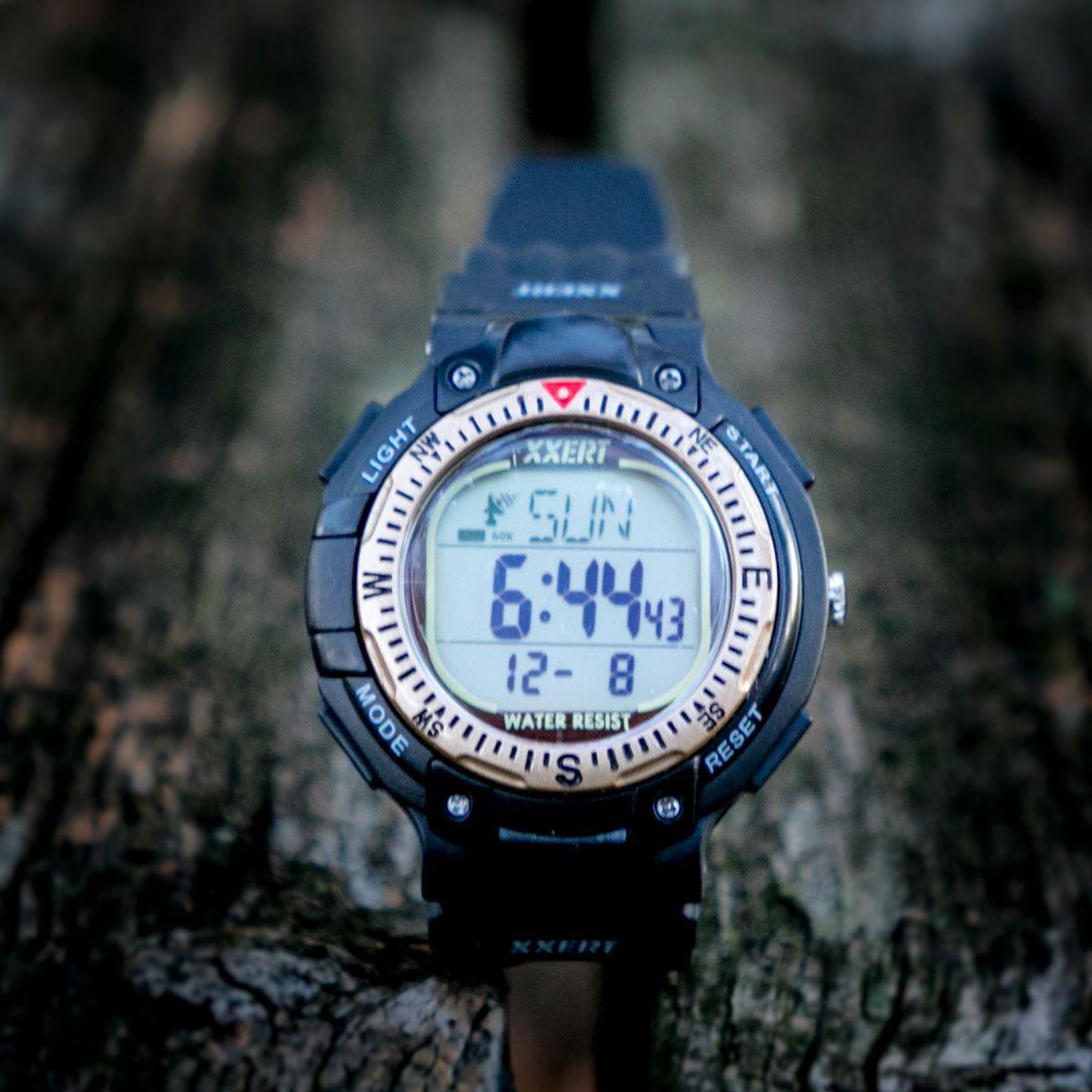 XXERT(エグザート) 腕時計 電波 ソーラー ウォッチ 10気圧防水 カレンダー アウトドア ビジネス 部活 入学 卒業 お祝い プレゼント 小学生 XXW-502 ゴールド 1本