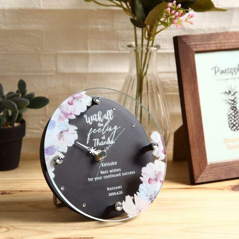 名入れ時計[T-753-CO BR-Z_フラワー]結婚祝いなどおしゃれな贈り物・ギフト・記念品に