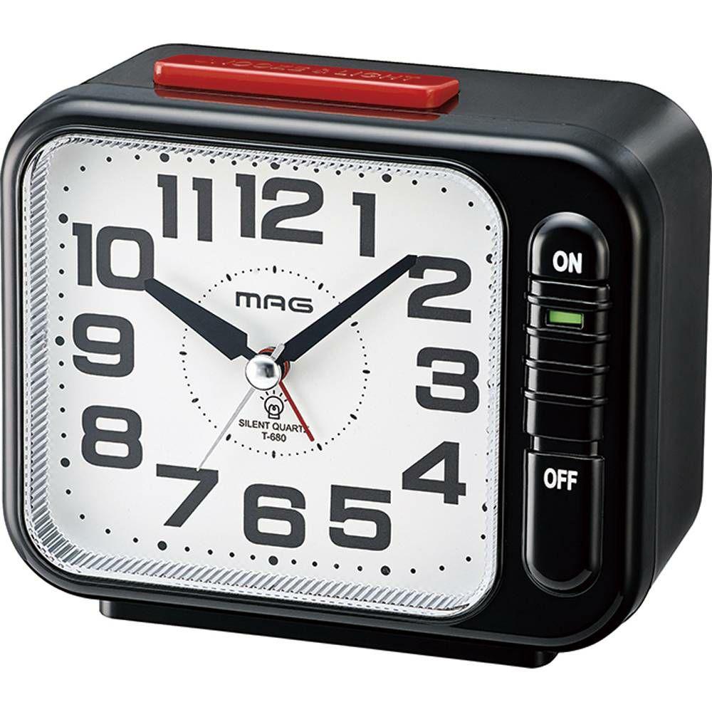 MAG(マグ) アナログ 置時計 目覚まし時計 連続秒針 モーニングラリー2号 T-680 ブラック 1台
