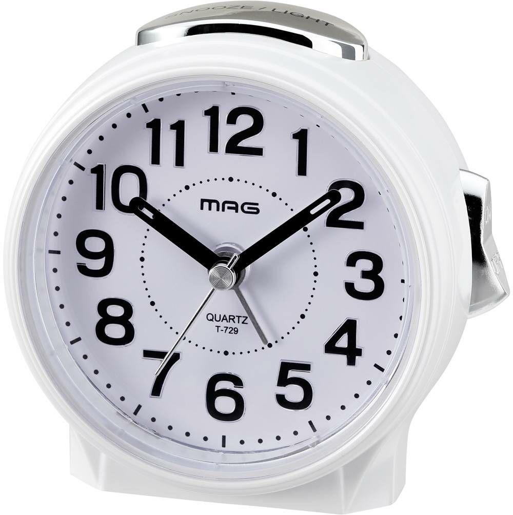 ≪メーカー直販≫ MAG(マグ) アナログ 置時計 目覚まし時計 ブルーブライト T-729 ホワイト 1台