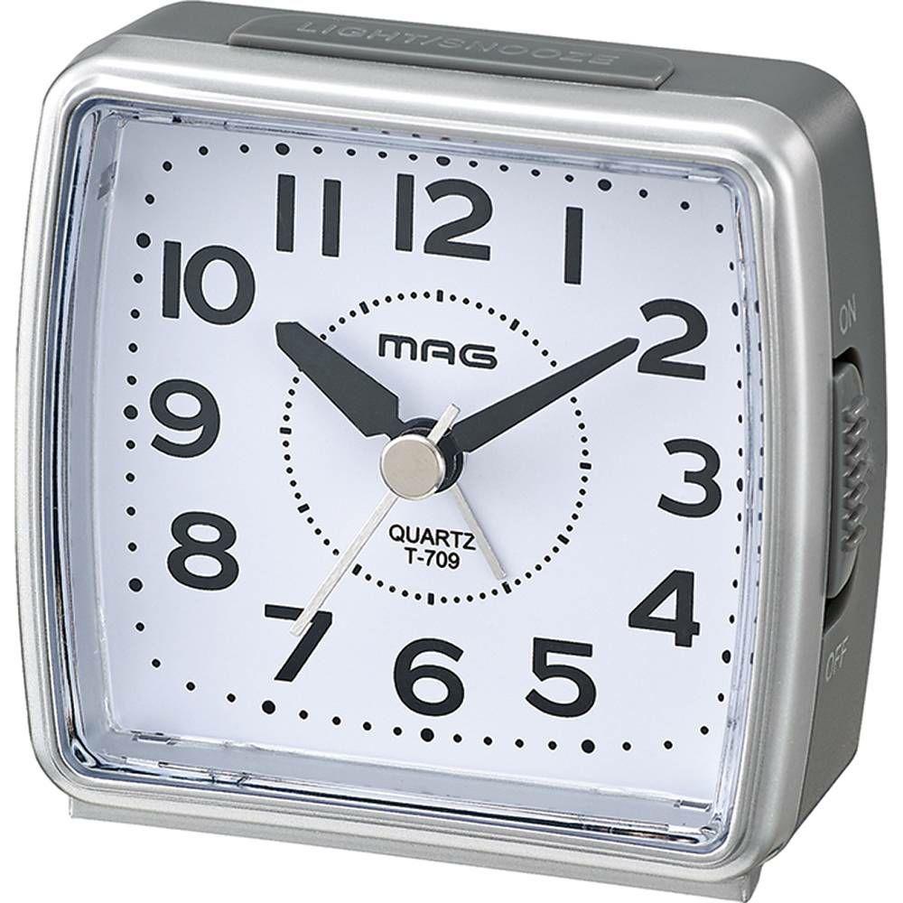 ≪メーカー直販≫ MAG(マグ) ミニサイズ アナログ 置時計 目覚まし時計 連続秒針 小時郎(コジロウ) T-709 海外旅行 出張 ビジネス 入院 1台