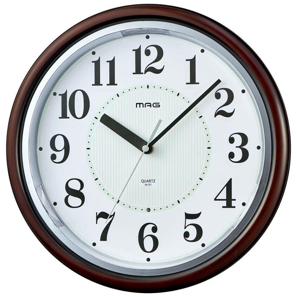 MAG(マグ) アナログ 掛時計 連続秒針 ライト 自動点灯 光明(コウミョウ) W-727 30cm 1台 夜 見える 目が覚める