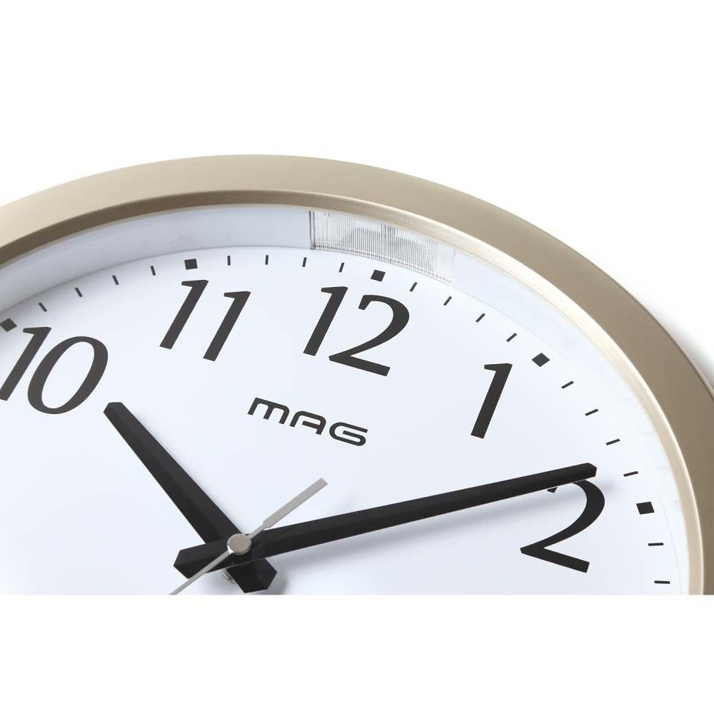 ≪メーカー直販≫ MAG(マグ) アナログ 電波時計 電波オンオフ機能付き 壁掛け時計 ライト 自動点灯 ナイトグロー W-710  31cm 1台 夜 見える カレンダー 温度表示