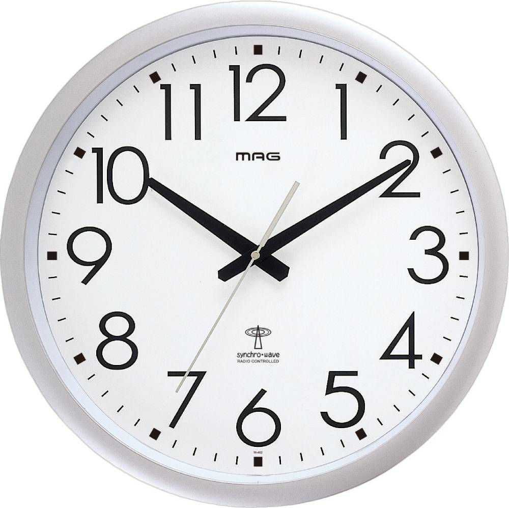 ≪メーカー直販≫ MAG(マグ) W-462 SM アナログ 大型 φ42cm 電波 壁 掛け時計 ウエーブ420 銀メタリック 1台 ステップ秒針 オフィス 店舗 工場 学校 施設 業務用 見やすい