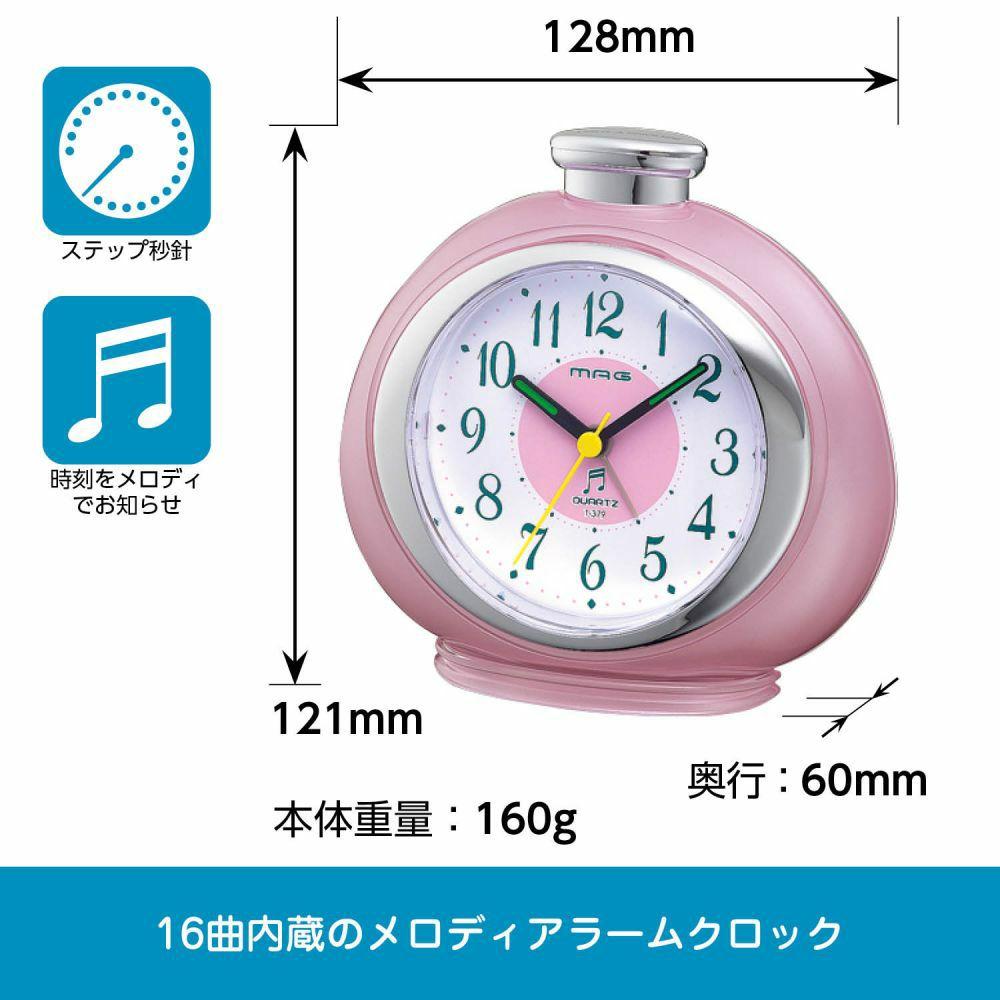 インテリア置時計[T-379 PK-Z_メロディ目覚まし時計 フルーティ]