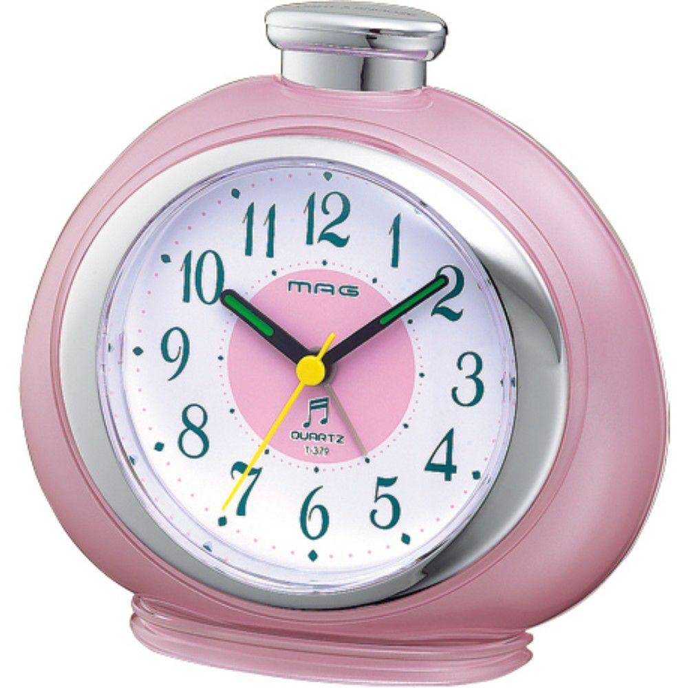 MAG(マグ) アナログ 置時計 メロディ 目覚まし時計 フルーティ ピンク ステップ秒針 T-379 1台 かわいい 女性 こども キッズ 入園 入学
