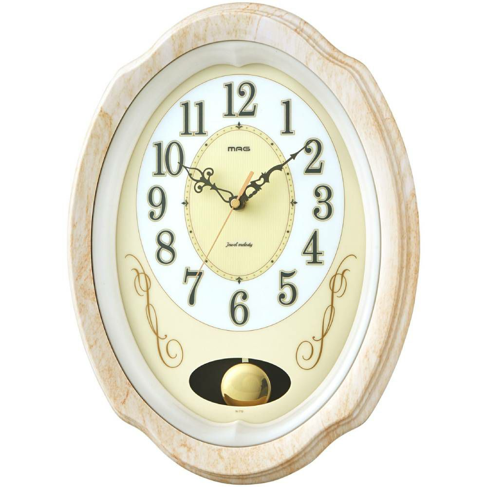 MAG(マグ) アナログ 電波 メロディ 報時 振り子 壁 掛時計 ジュエルメロディ W-719 1台 ステップ秒針 時報 オフィス 店舗 施設 ギフト 贈り物 記念品