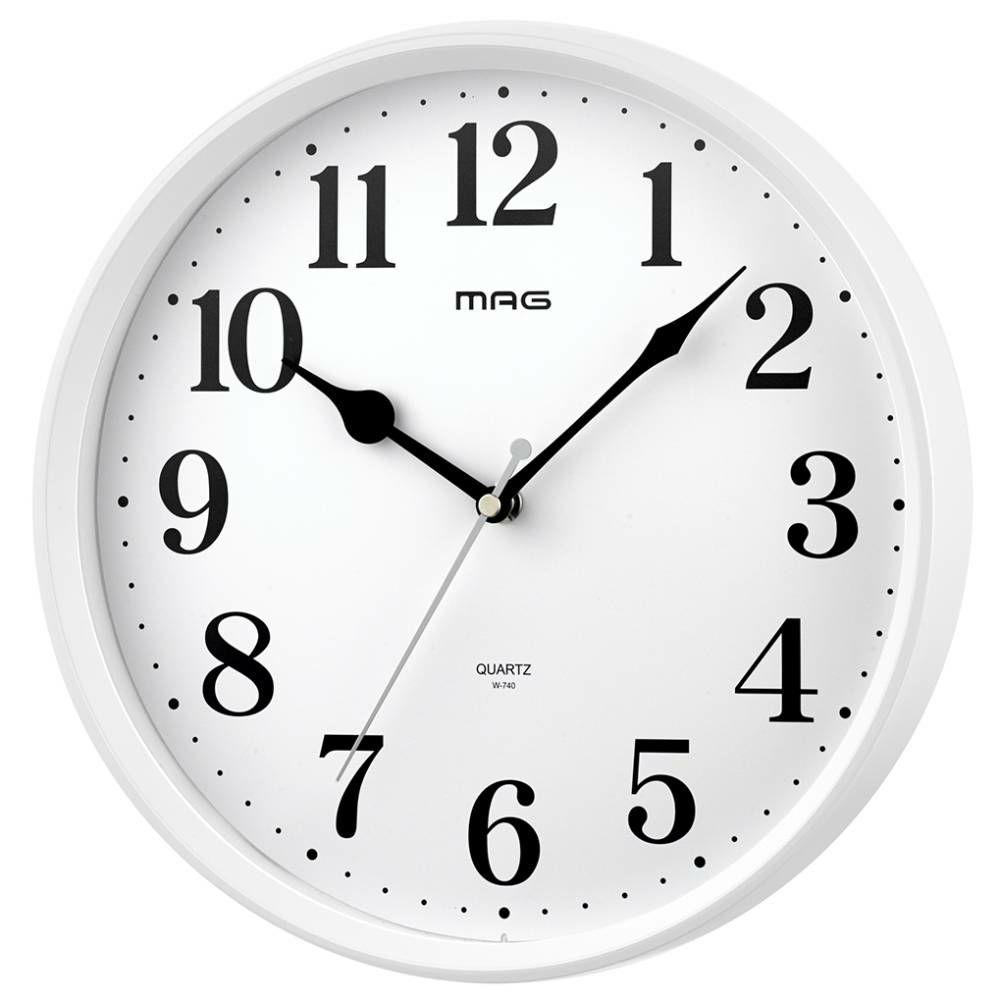 ≪メーカー直販≫ MAG(マグ) アナログ インテリア 壁掛け時計 連続秒針 ミドル W-740 28cm 1台 ホワイト シンプル オフィス 店舗 工場 学校 施設 業務用 見やすい