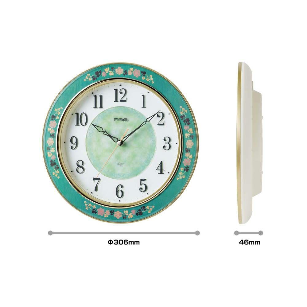 ≪メーカー直販≫ MAG(マグ) アナログ インテリア 壁掛け時計 連続秒針 グリーン ローズ W-718 30cm 1台 薔薇 象嵌風 ガーデン フラワー リビング サロン