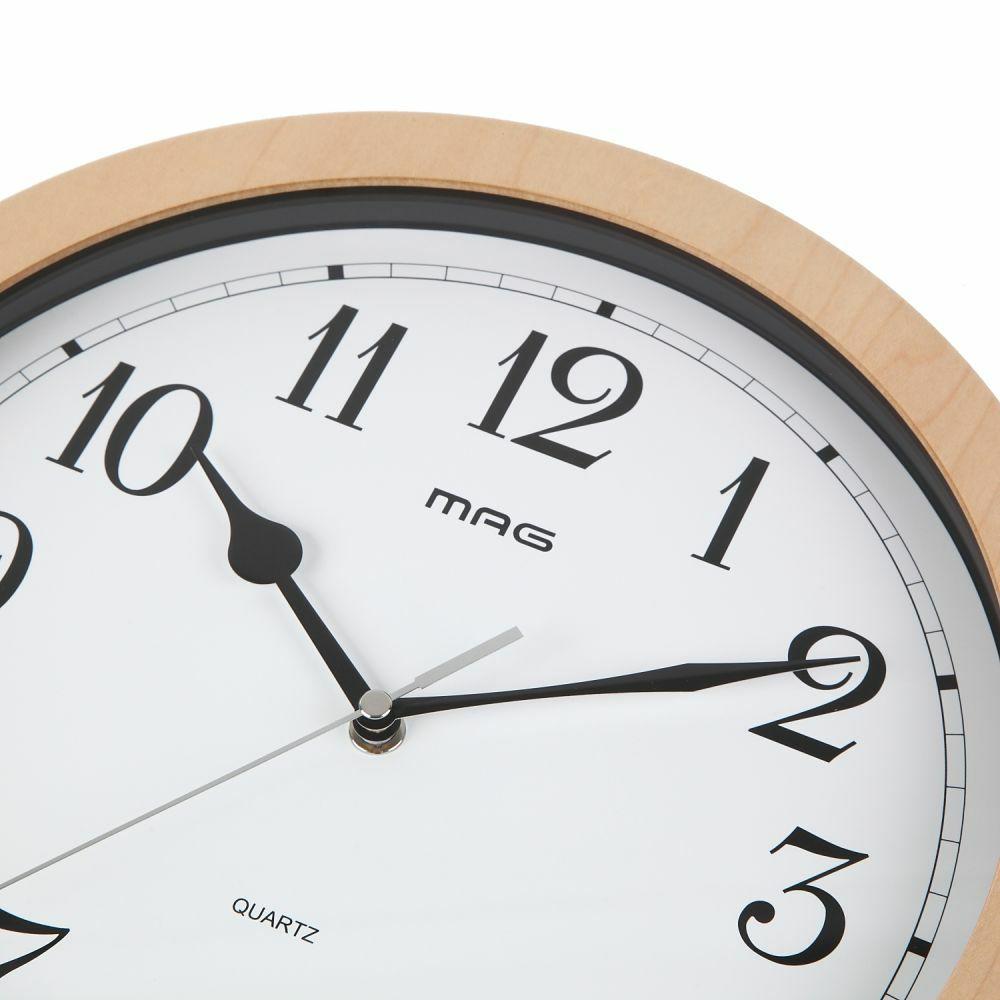 ≪メーカー直販≫ MAG(マグ) アナログ インテリア 壁掛け時計 連続秒針 ベルナウッド W-702 30cm 1台 MDFフレーム 見やすい ナチュラルデザイン
