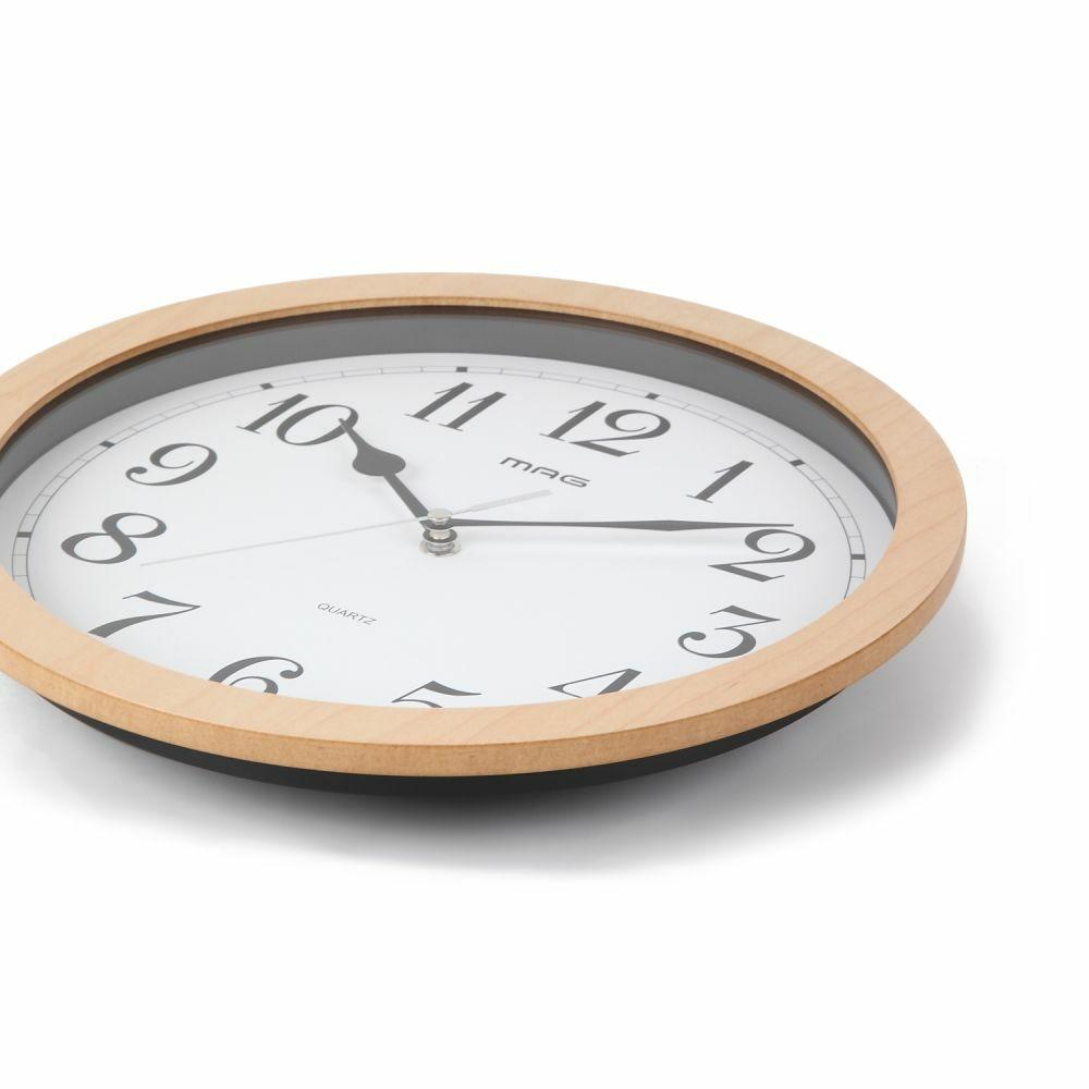 MAG(マグ) アナログ インテリア 壁 掛時計 連続秒針 ベルナウッド W-702 30cm 1台 MDFフレーム 見やすい ナチュラルデザイン