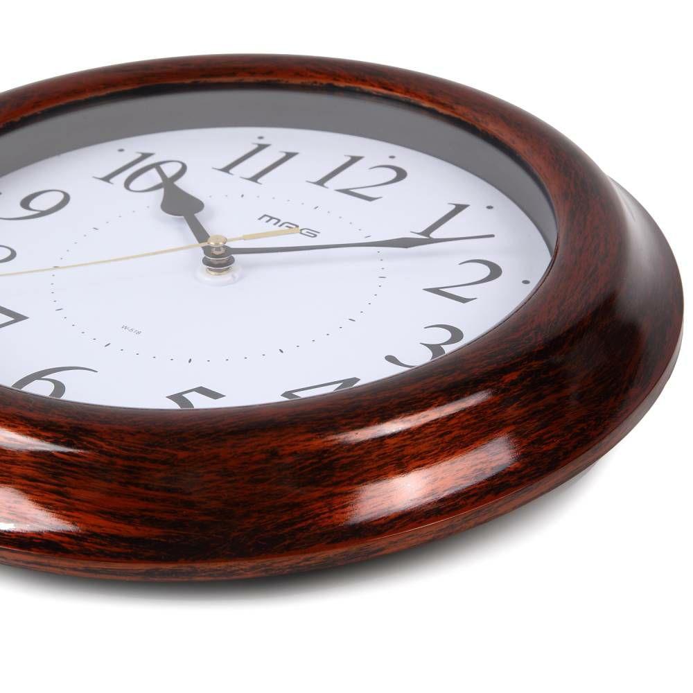 ≪メーカー直販≫ MAG(マグ) アナログ インテリア 壁掛け時計 連続秒針 桜花(オウカ) W-518 ブラウン 28cm 1台 木目調フレーム 見やすい リビング 寝室 和室