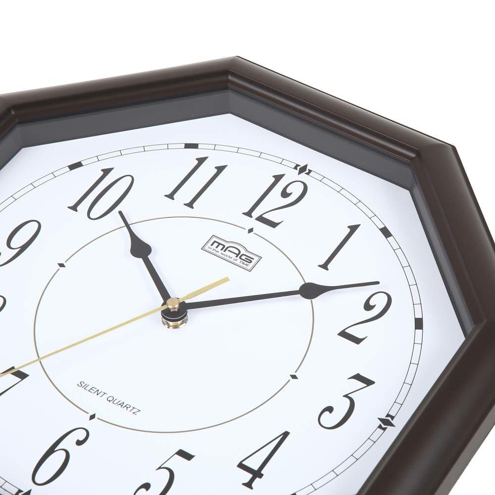 ≪メーカー直販≫ MAG(マグ) アナログ インテリア 八角形 壁掛け時計 連続秒針 オクターゴ W-287 ブラウン 30cm 1台 木目調フレーム 見やすい リビング 風水