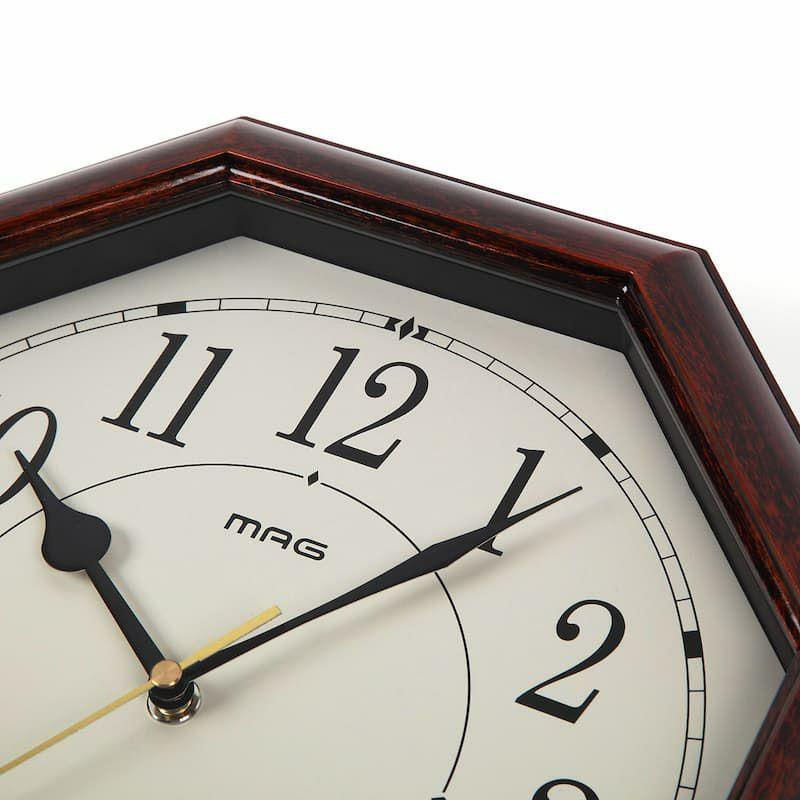 ≪メーカー直販≫ MAG(マグ) アナログ インテリア 八角形 電波時計 壁掛け時計 連続秒針 ネオオクターゴ W-739 ブラウン 30cm 1台 木目調フレーム 見やすい リビング 風水