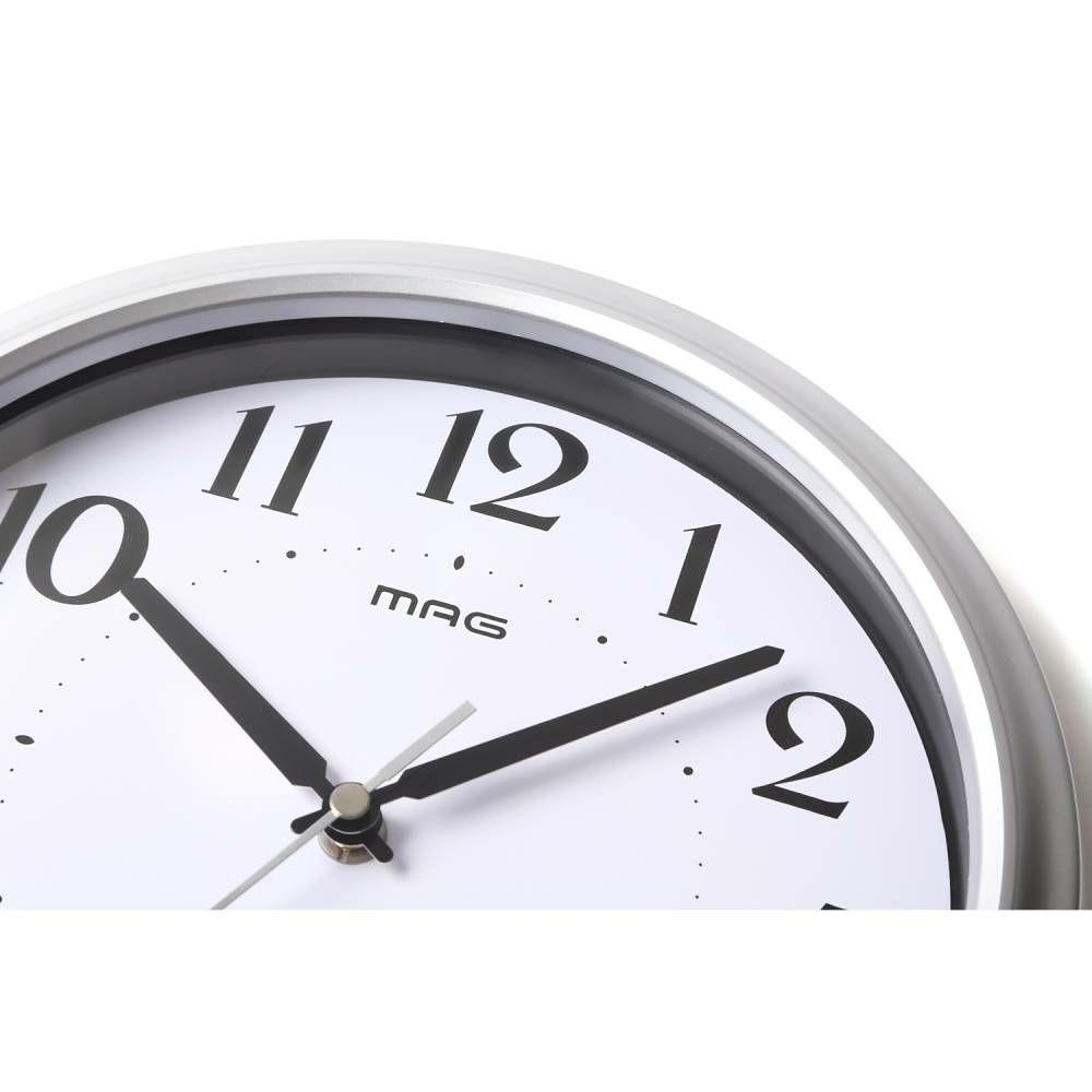 MAG(マグ) アナログ インテリア 電波 壁 掛時計 ステップ秒針 アストル W-649 25cm 銀シルバー 1台 シンプル オフィス 店舗 工場 学校 施設 業務用 見やすい