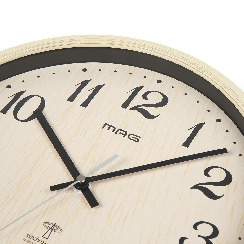 ≪メーカー直販≫ MAG(マグ) アナログ 電波時計 壁掛け時計 ペストル ステップ秒針 W-699 30cm ナチュラル 1台 木目調 フレーム 見やすい リビング インテリア