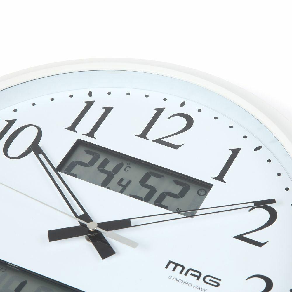 ≪メーカー直販≫ W-711 WH MAG(マグ) アナログ 電波時計 壁掛け時計 温度計 湿度計 カレンダー付き ダブルリンク ステップ秒針 φ34cm ホワイト 1台 見やすい リビング インテリア オフィス 事務所 業務用 健康 環境 管理