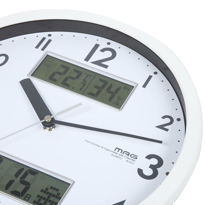 ≪メーカー直販≫ MAG(マグ) W-631 WH アナログ 壁掛け時計 温度計 湿度計 カレンダー付き ダブルメジャー 連続秒針 φ28cm ホワイト 1台 見やすい リビング インテリア オフィス 事務所 業務用 健康 環境 管理