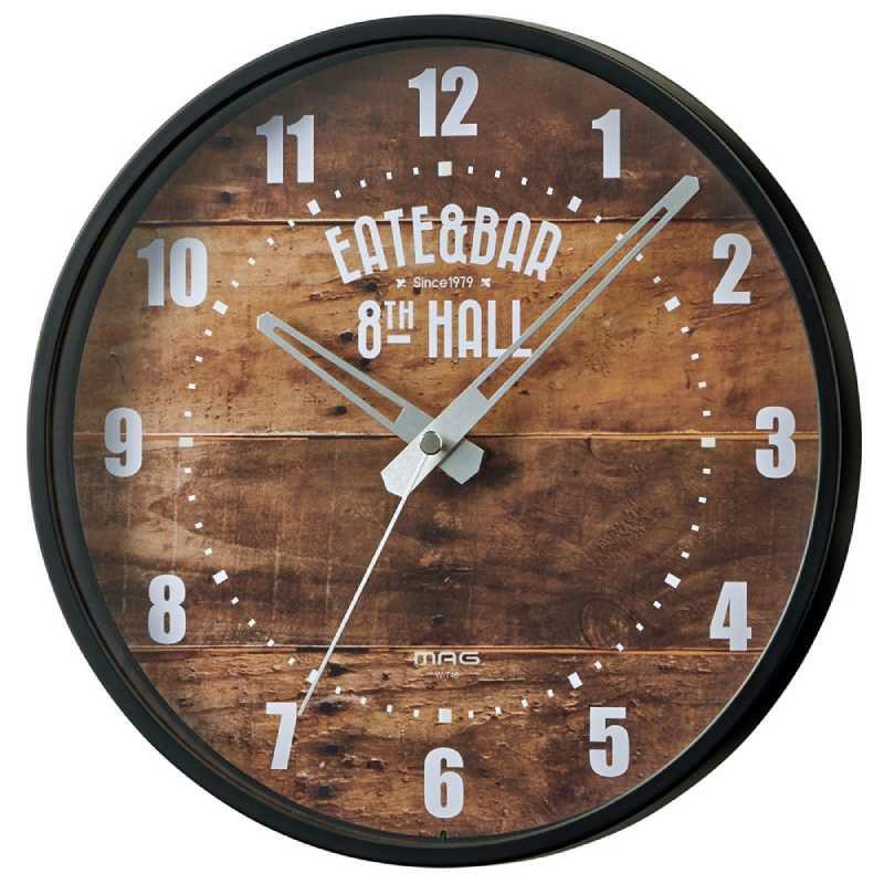 MAG(マグ) ウォールクロック アナログ 壁 掛時計  W-748 25cm 1台 連続秒針 おしゃれ ブルックリン風  男前 インテリア 1人暮らし リビング 寝室