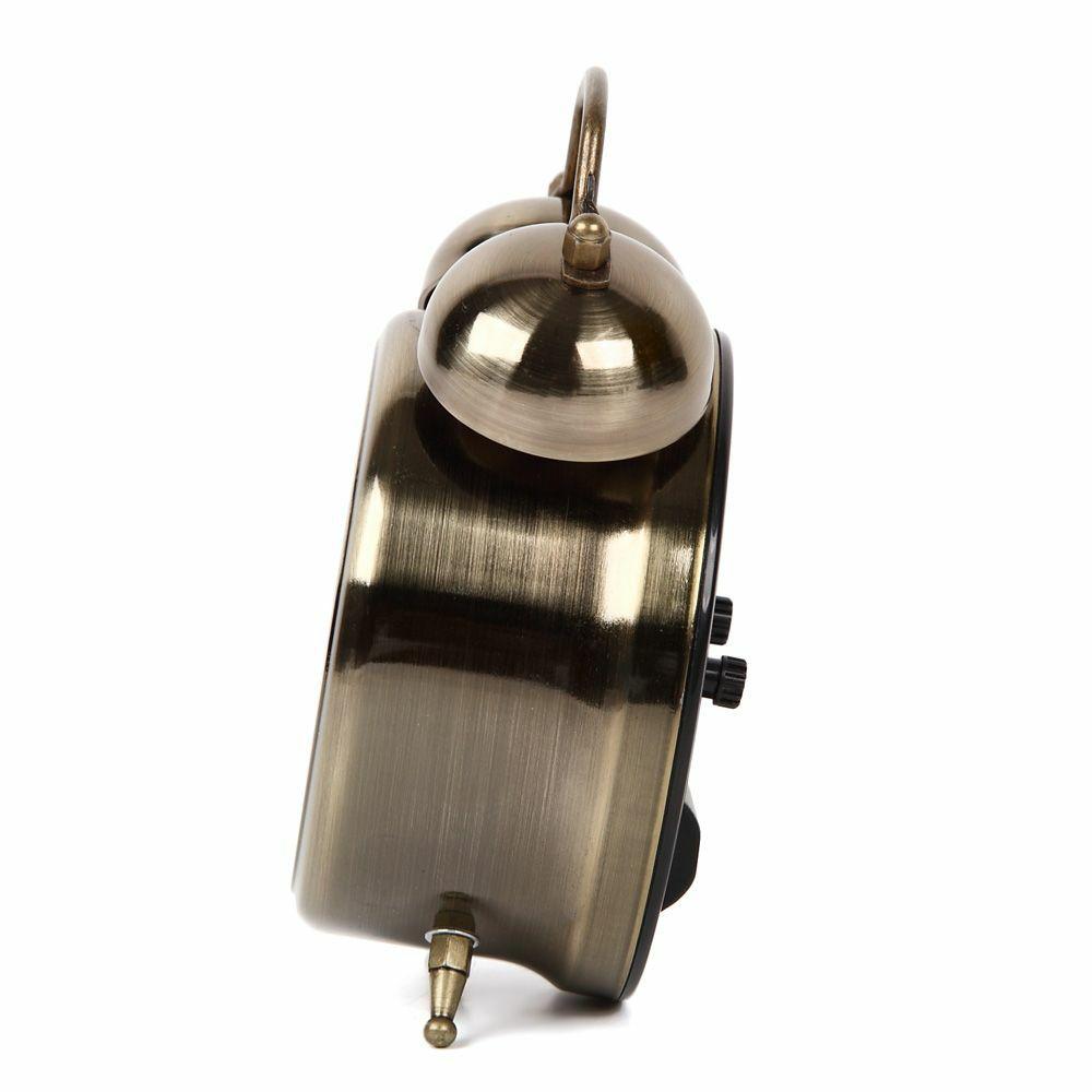 ≪メーカー直販≫ MAG(マグ) アナログ ミニ 置時計 目覚まし時計 連続秒針 ライト ツインベルアラームクロック T-755  1台 アンティーク ゴールド メタル 連続秒針 おしゃれ 男前 インテリア おすすめ うるさい 音 絶対起きる