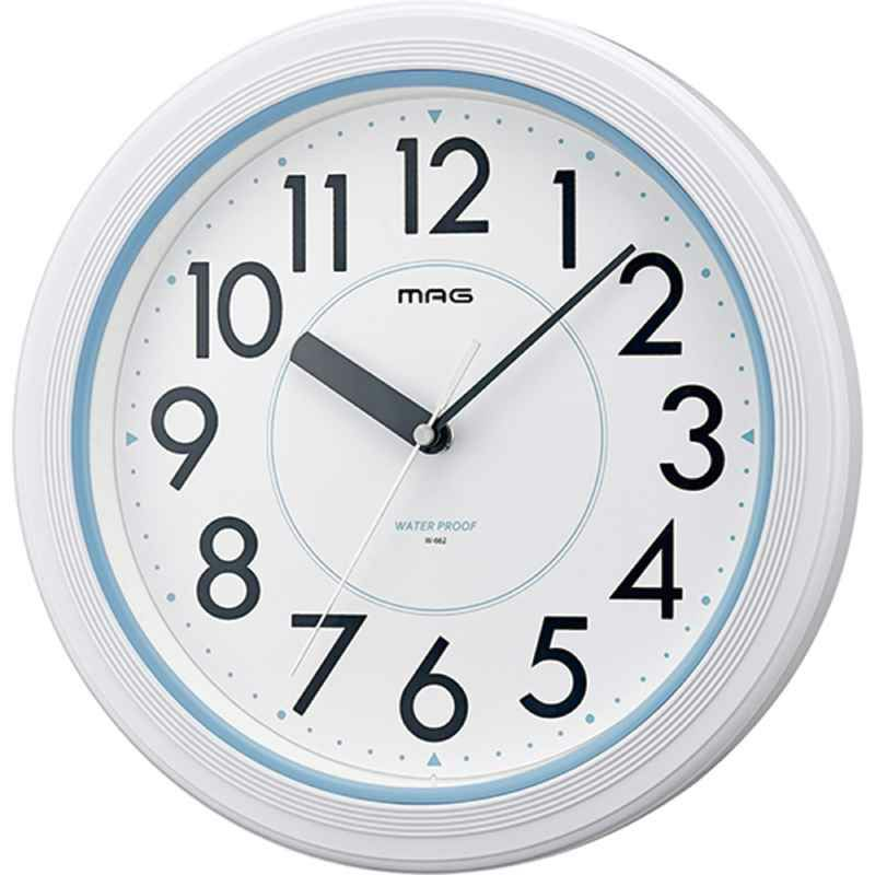 MAG(マグ) 防水 防塵 壁 掛時計 アクアガード W-662 28cm ホワイト 1個 ステップ秒針 IP67 屋外 業務用 お風呂 キッチン 農園 ガーデニング 見やすい