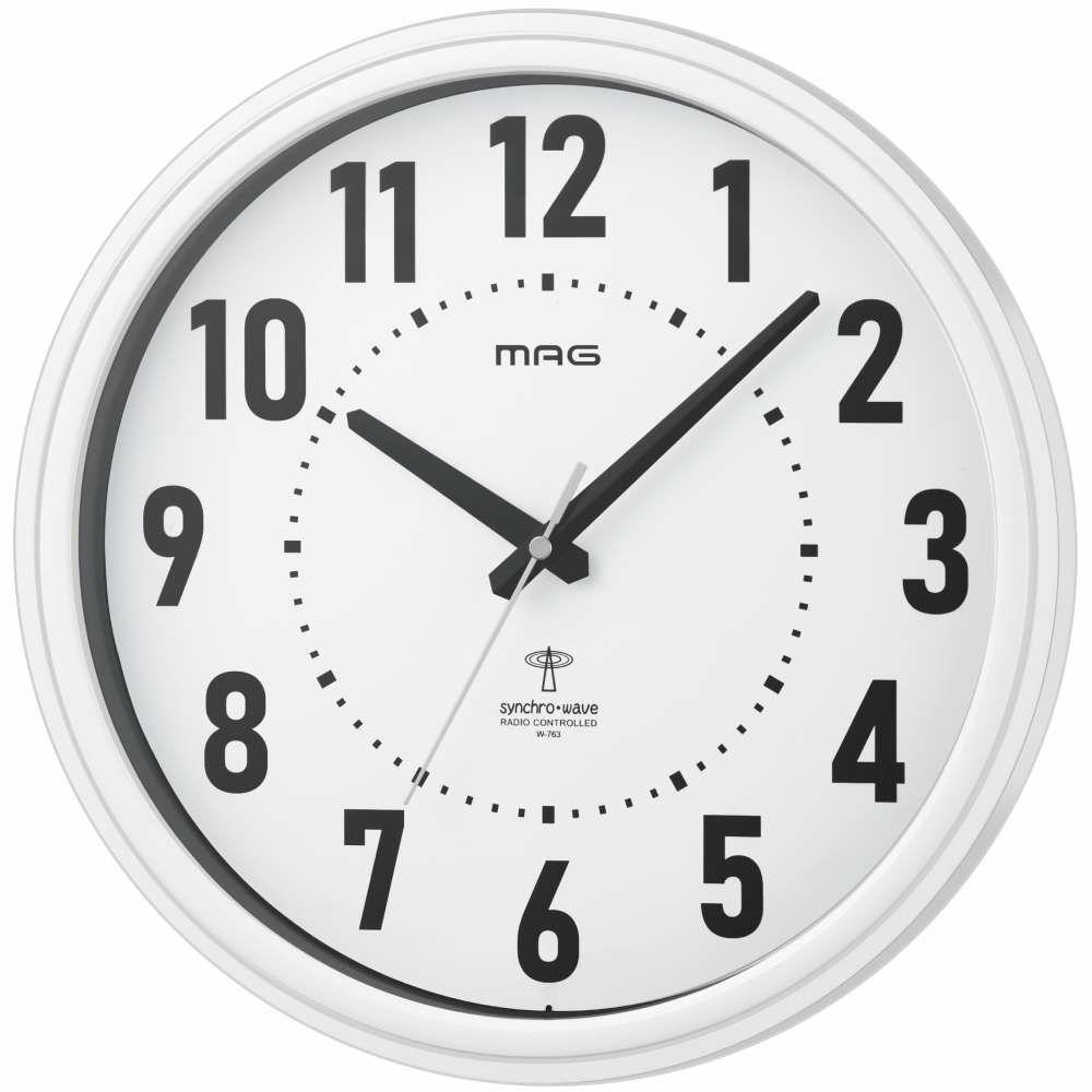 ≪メーカー直販≫ MAG(マグ) アナログ 電波時計 壁掛け時計 ステップ秒針 ケレス W-763 φ31cm ホワイト 1台 シンプル オフィス 事務所 店舗 工場 学校 施設 業務用 見やすい