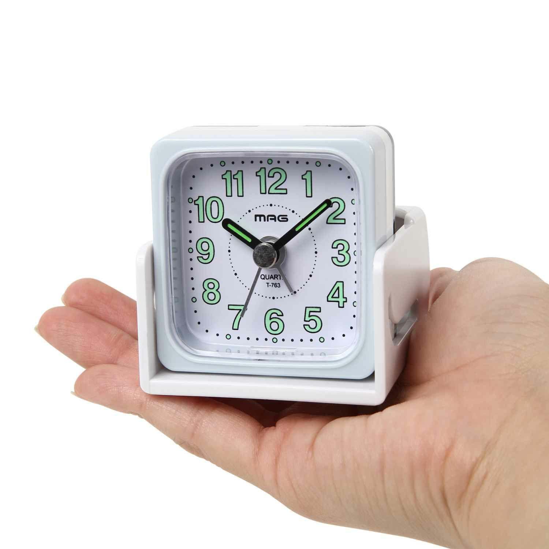 ≪メーカー直販≫ MAG(マグ) アナログ 折りたたみ 携帯 トラベル クロック置き時計 目覚まし時計 トラベるん T-763 6cm ホワイト 1台 連続秒針 国内 海外 旅行 出張 病院 入院 ホテル ビジネス スライトカバー