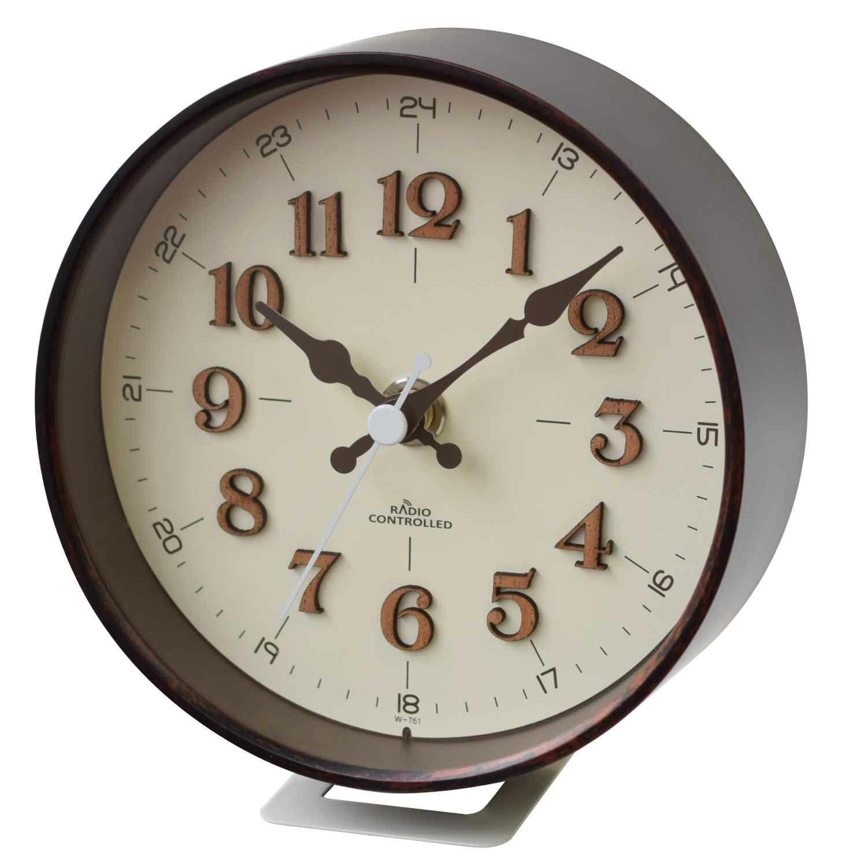 ≪メーカー直販≫ MAG(マグ) 電波時計 置掛兼用 インテリア アナログ  連続秒針 北欧風 おしゃれ テレビボード 玄関 ニッチ W-761 ブラウン アイボリー 1個