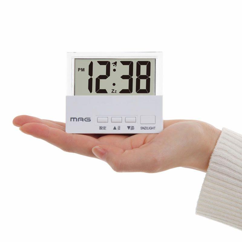 MAG(マグ) デジタル ミニ 電波 置時計 目覚まし時計 ライト付き クリアタイム T-762 ホワイト 1台  小さい 狭い 寝室 書斎 棚 シンプル 見やすい