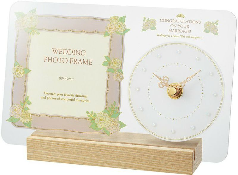 MAG(マグ) フォトフレーム 時計 結婚祝い 結婚記念日 退職 友達 新婚 兄弟 姉妹 同僚 職場 お祝い プレゼント 贈り物 ギフト 記念品 T-770 アイボリー 1台 89mm ましかく写真 スクエア写真